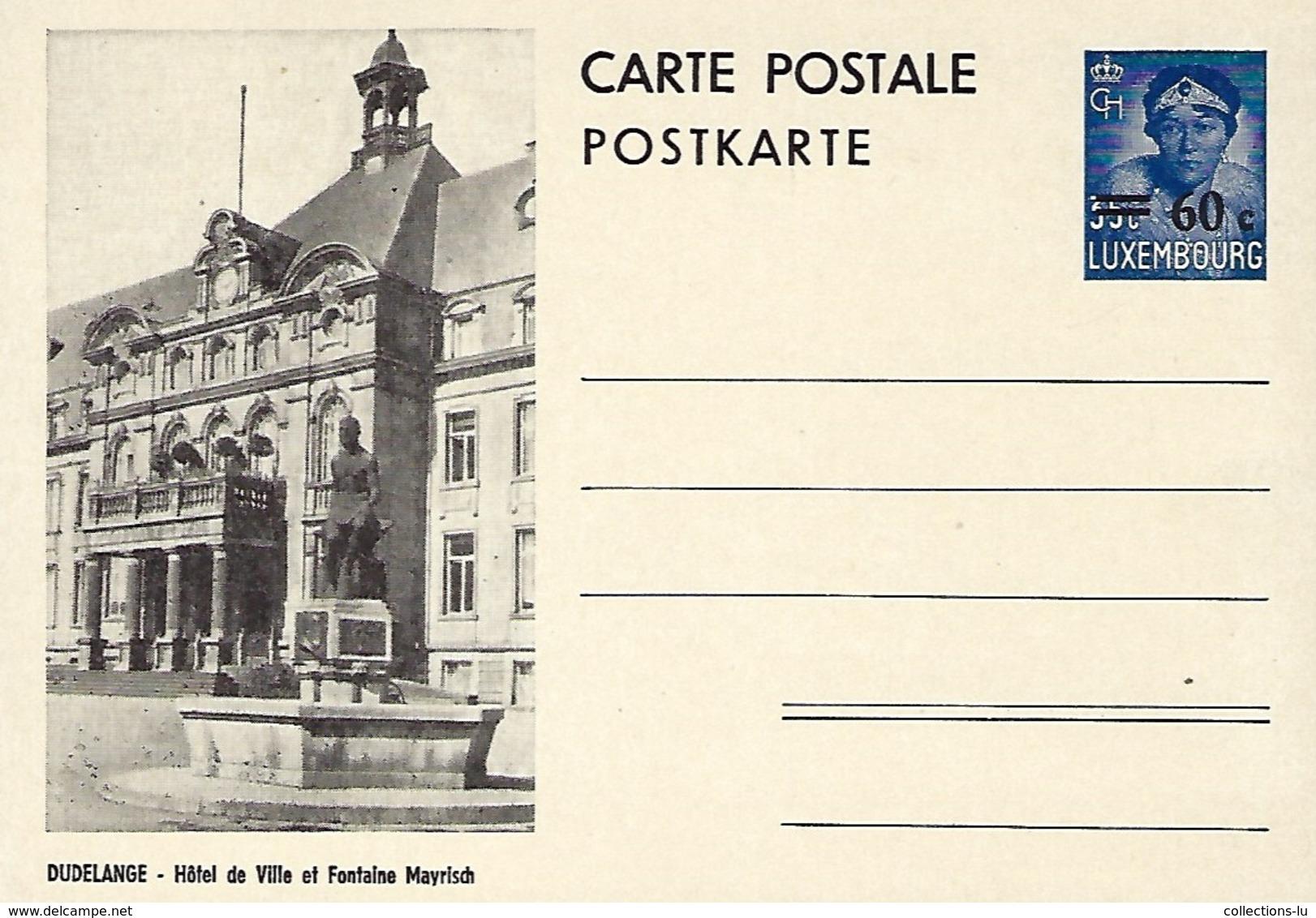 Luxembourg  -  Carte Postale - Postkarte - Dudelange - Hôtel De Ville Et Fontaine Mayrich - Prifix 116 - Entiers Postaux