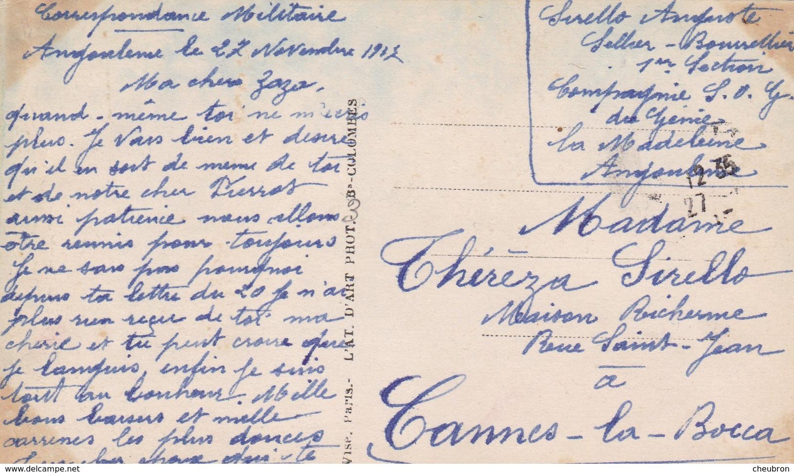 """16. ANGOULÊME. CARTE FANTAISIE . CPA. COUPLE  """" LA VOIX DU LIERRE """" + TEXTE MILITARIA DU 27 NOVEMBRE 1917 - War 1914-18"""