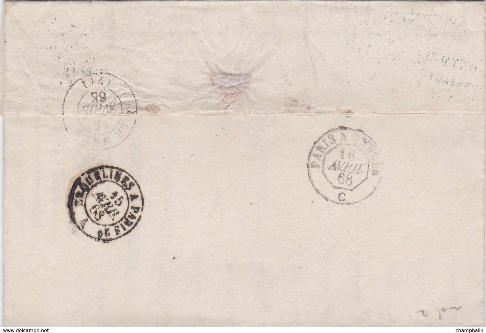 LAC De Maubeuge (59) Pour Le Mans (72) - 15 Avril 1868 - Timbre YT29 + Ob. Losange GC 2272 - CAD Rond Type 15 + Ambulant - 1849-1876: Periodo Classico