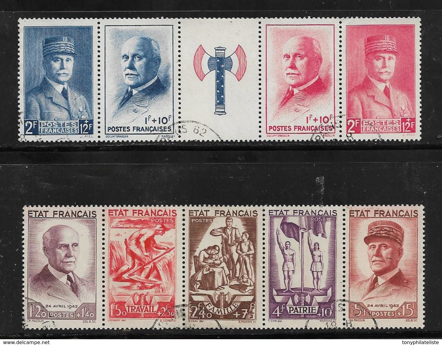 France Timbres De 1943 N°571A + F580  Oblitérés Cote 157€ - France
