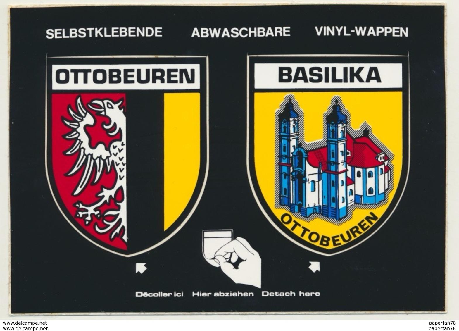 Sticker Aufkleber Autocollant Ottobeuren Und Basilika Wappen - Autocollants