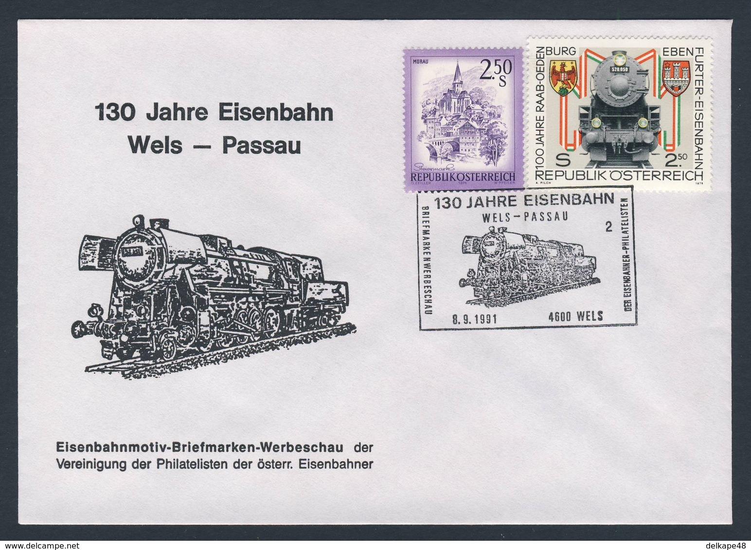 Austria Österreich 1991 Cover / Brief / Lettre - 130 Jahre Eisenbahn Wels - Passau - Briefmarken-Werbeschau - Treinen
