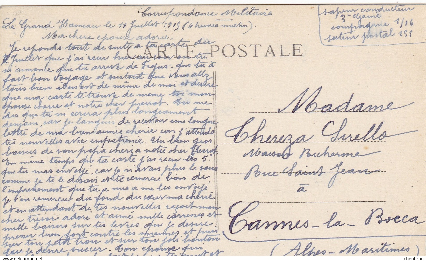 51 LE GRAND HAMEAU (ENVOYÉ DU) . PRIEURE DE BINSON. .SUPPORT DE TEXTE MILITARIA DU 11/JUILLET/1915 - War 1914-18