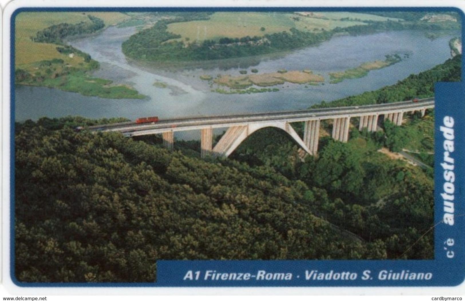 *ITALIA: VIACARD - A1 FIRENZE-ROMA - VIADOTTO S.GIULIANO (L.50000)* - Usata - Altre Collezioni