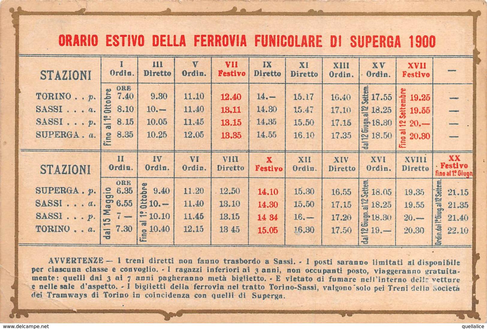 """01461 """"TORINO - ORARIO ESTIVO DELLA FERROVIA FUNICOLARE DI SUPERGA ANNO 1900""""  ORIGINALE - Europe"""