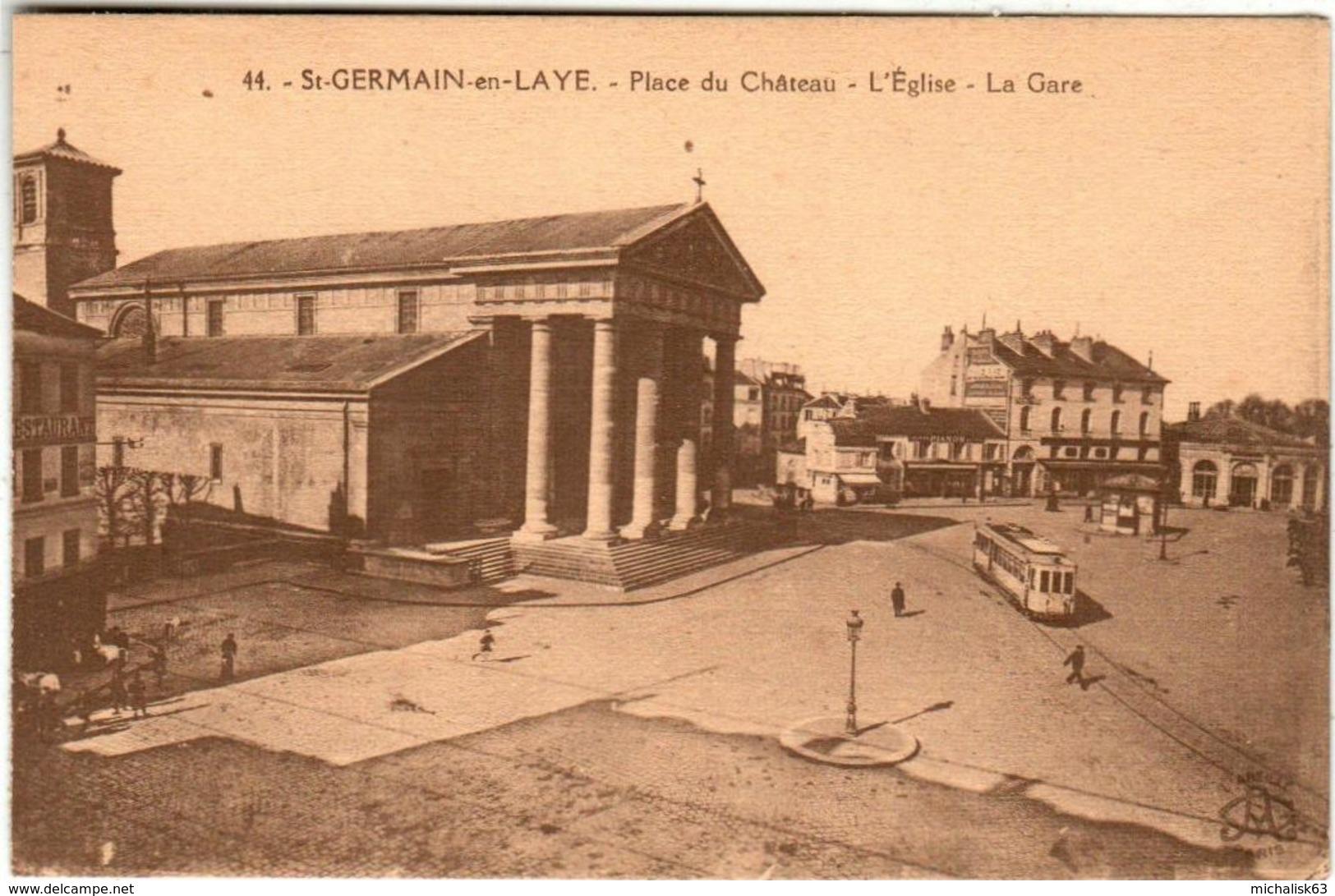 31ksps 540 CPA - SAINT GERMAIN EN LAYE - PLACE DU CHATEAU - L'EGLISE - LA GARE - St. Germain En Laye