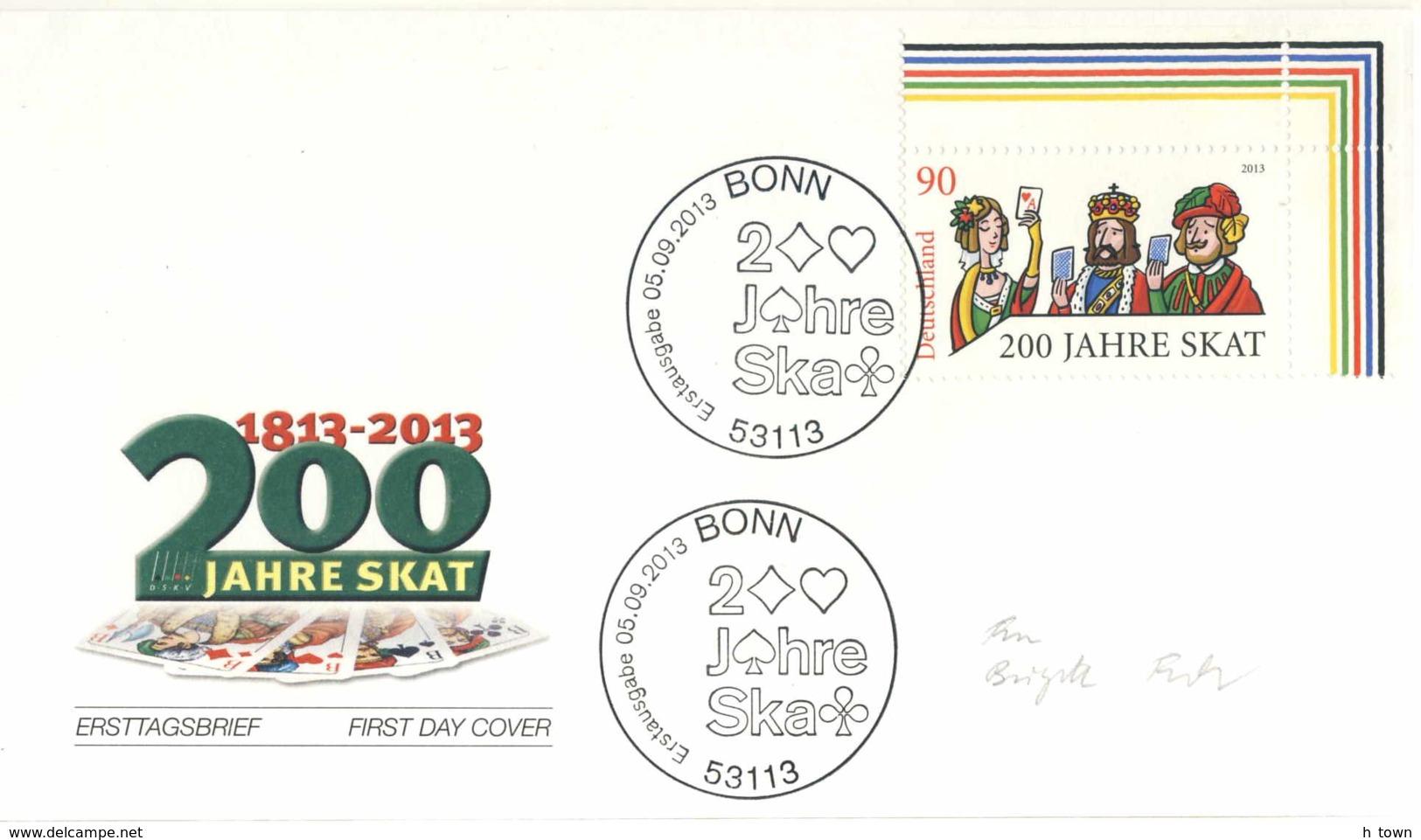 953  Skat, Jeu De Cartes: Env. Premier Jour D'Allemagne, 2013 - Playing Card FDC From Germany With Bonn Cancel - Giochi