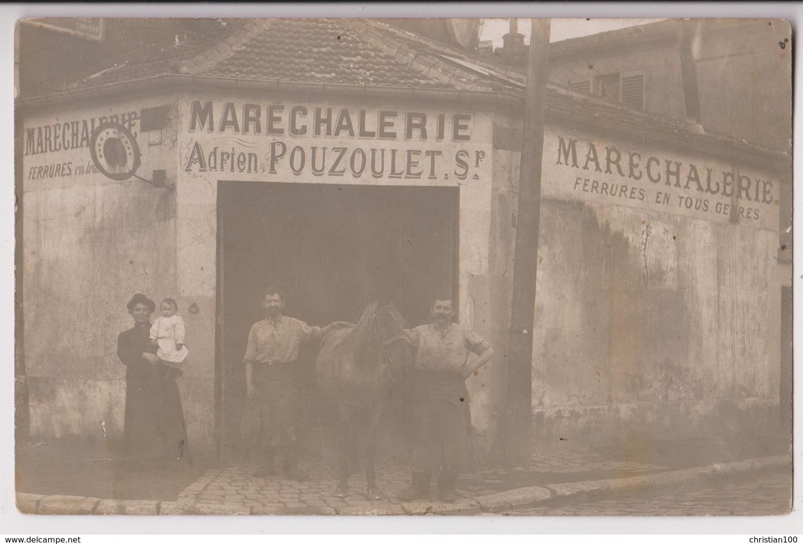 CARTE PHOTO : MARECHALERIE ADRIEN POUZOULET - MARECHAL FERRANT - FERRURES EN TOUT GENRE - CHEVAL -z 2 SCANS Z- - A Identifier