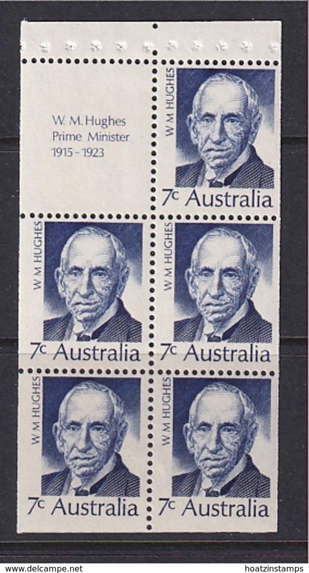 Australia: 1972   Famous Australians (Series 4)   SG 506a  7c   [W M Hughes]   MNH Booklet Pane - 1966-79 Elizabeth II