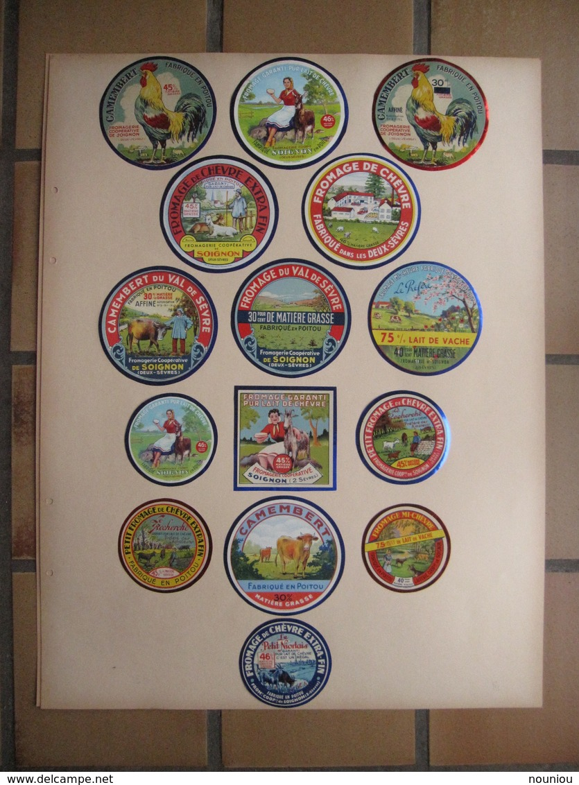 Lot 37 étiquettes Fromage Anciennes - Camembert Poitou Ormes Vienne Sans égal Empereur Soignon Chèvre 2-Sèvres - Kaas