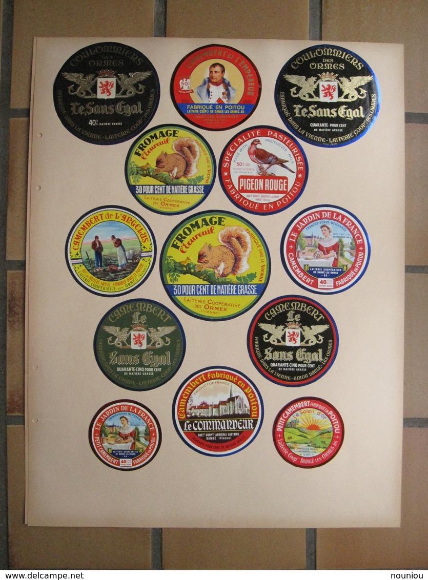 Lot 37 étiquettes Fromage Anciennes - Camembert Poitou Ormes Vienne Sans égal Empereur Soignon Chèvre 2-Sèvres - Quesos