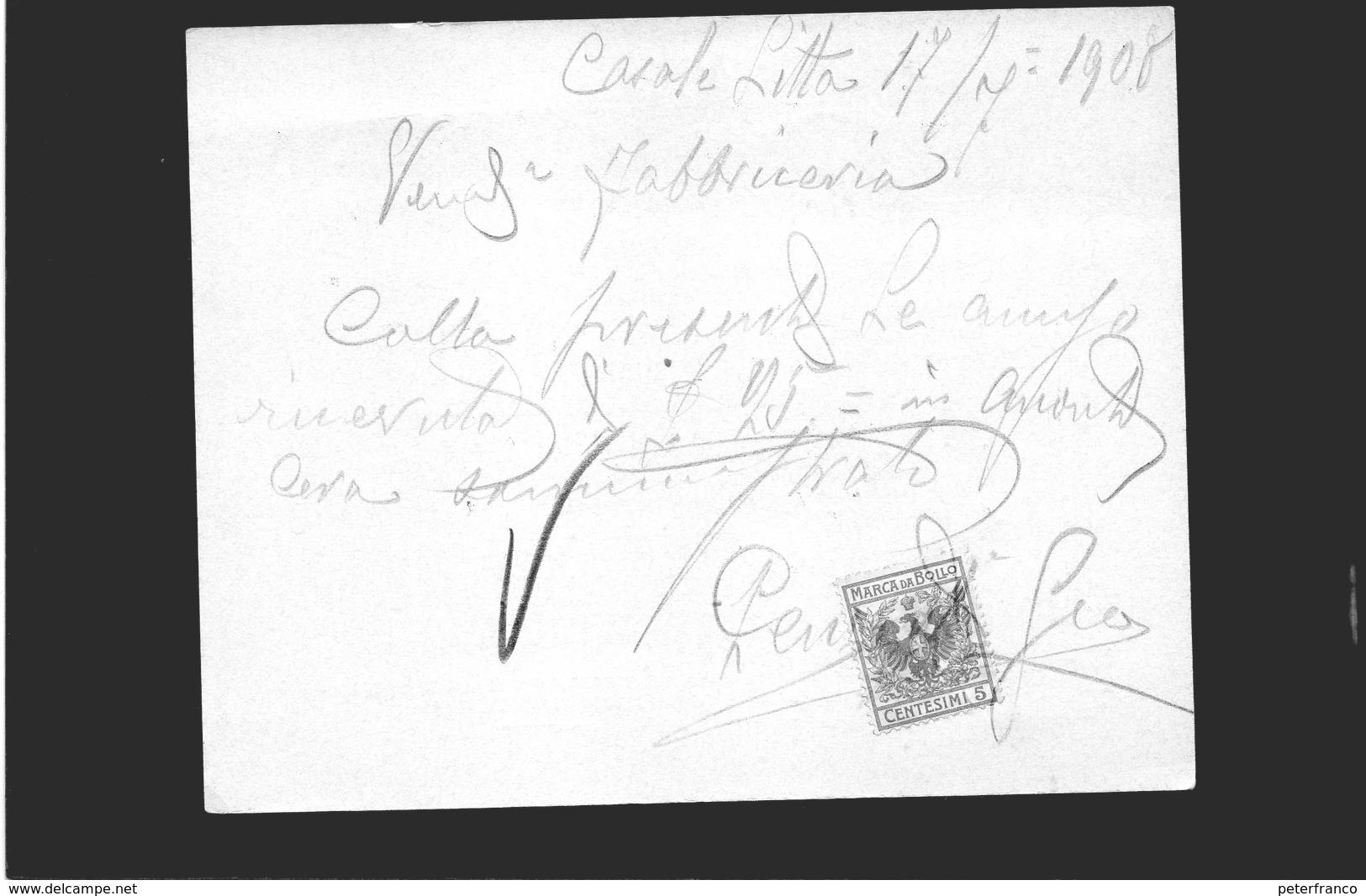 CG - Fatt. Ditta Cereria Pennati Giovanni - Monza - 17/7/1908 - Vendita Di Candele - Italia