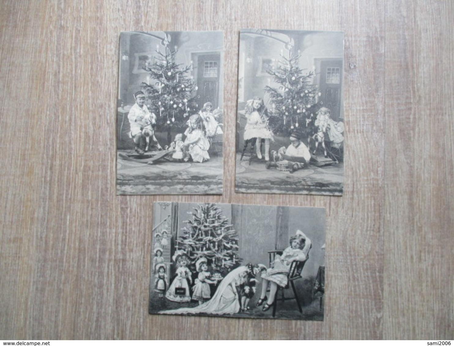 SERIE 3 CPA ENFANTS SAPIN NOEL CADEAUX JOUETS POUPEES CHEVAL A BASCULE - Weihnachten