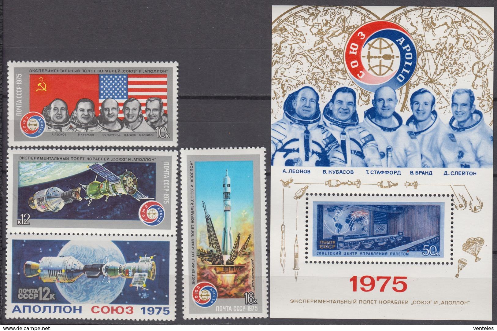 Russia, USSR 15.07.1975 Mi # 4371-74 Bl 105 Apollo–Soyuz Test Project MNH OG - Nuevos