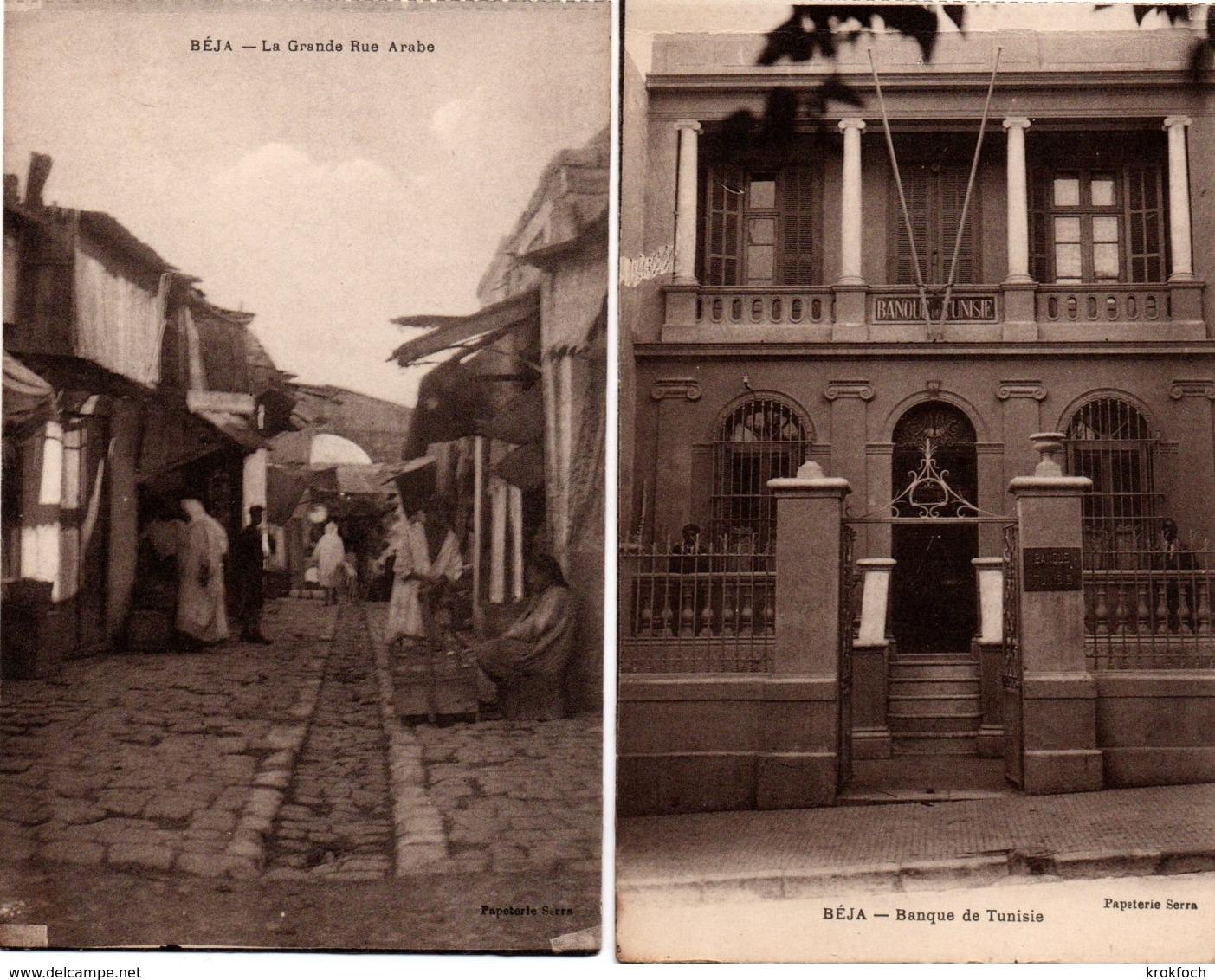 Beja - Tunisie - Banque De Tunisie & La Grande Rue Arabe - édit.Papeterie Serra - Tunisia