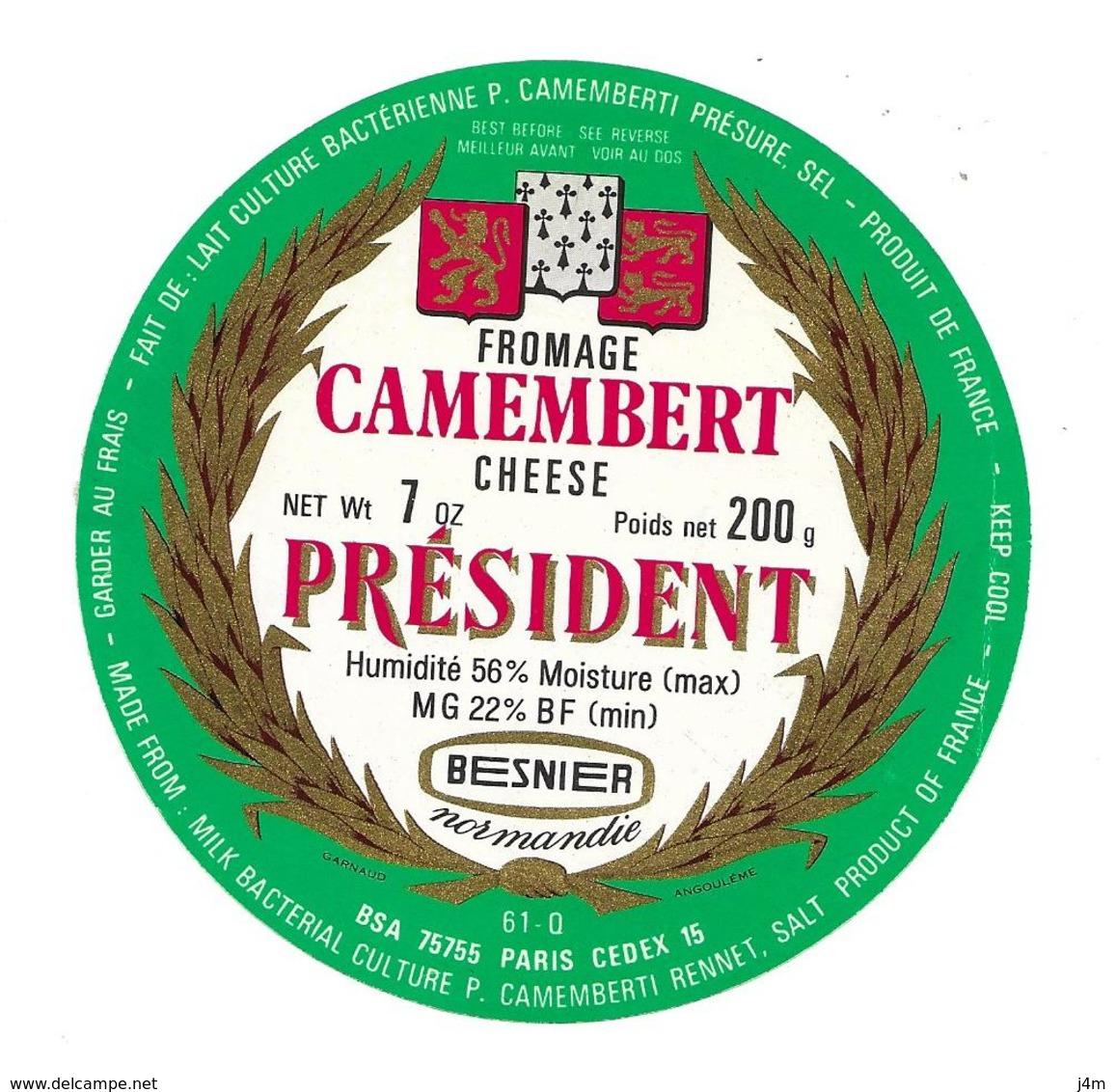 ETIQUETTE De FROMAGE..CAMEMBERT..Marquis De La Fayette..PRESIDENT..BESNIER - Cheese
