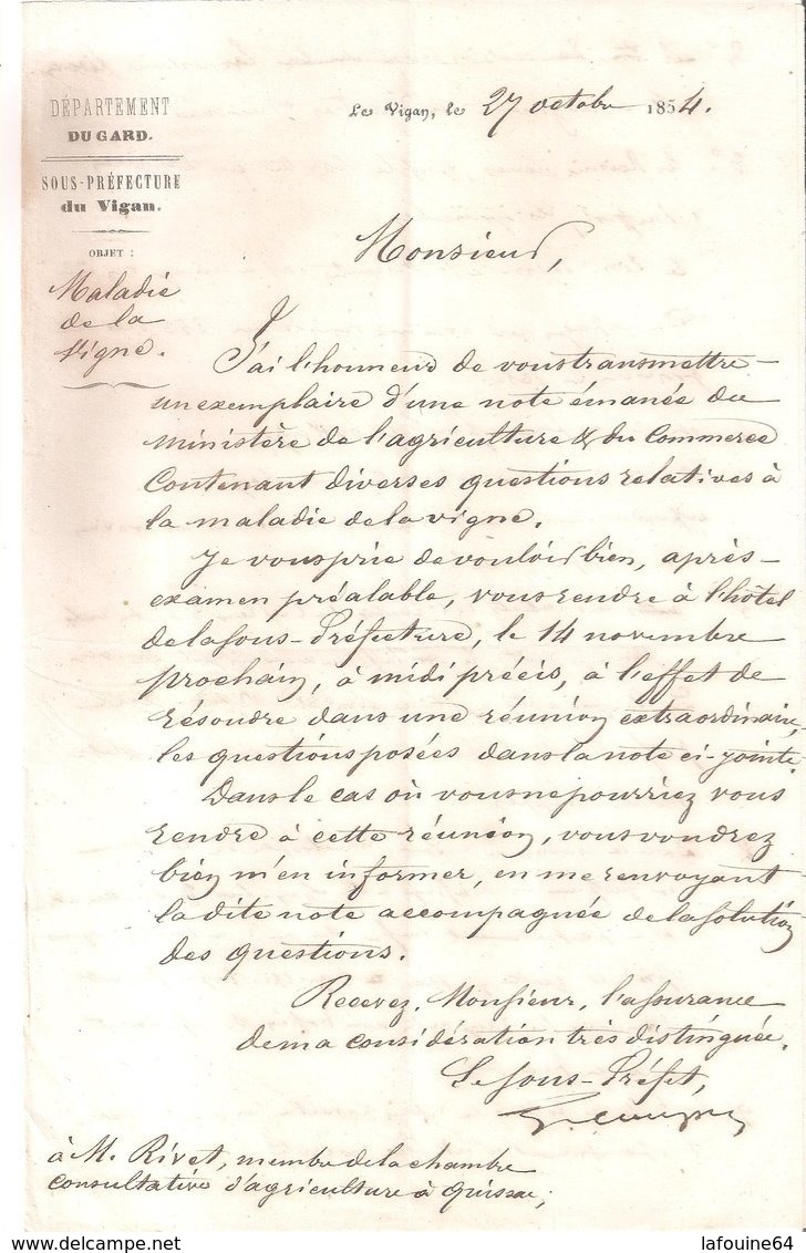 Courrier Sous-préfectoral : Le Vigan - Quissac - Rivet De Sabatier / Maladie De La Vigne - Wetten & Decreten