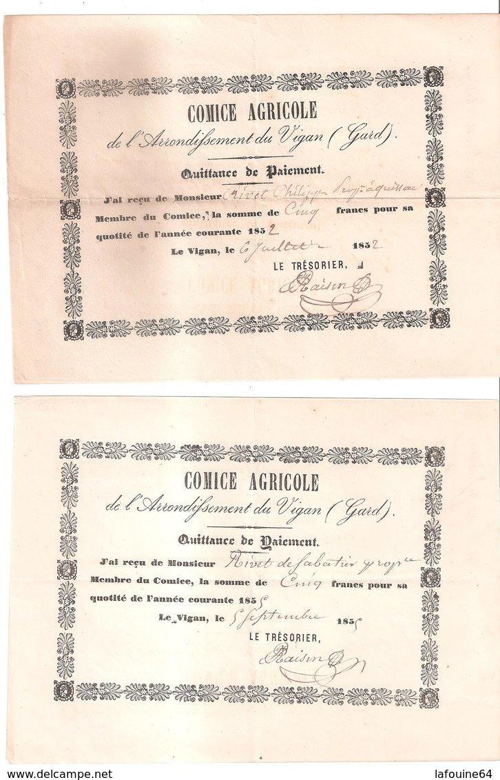 Comice Agricole De L'arrondissement Du Vigan - Quissac - Rivet De Sabatier / Quittances De Paiement - Agricoltura