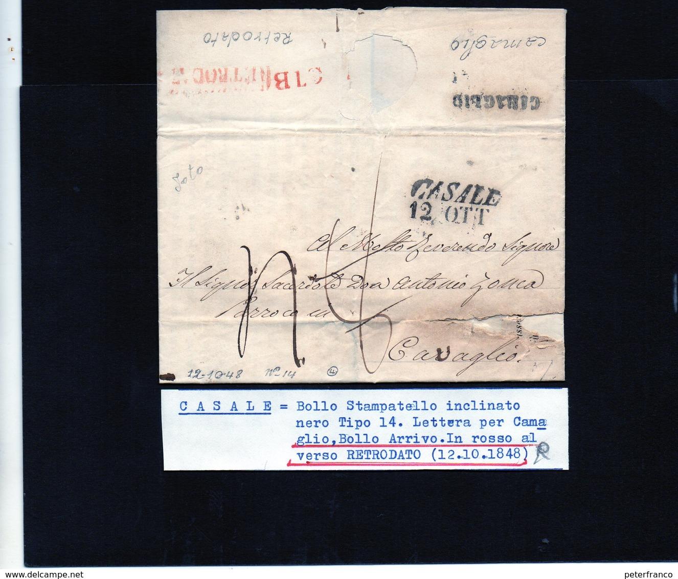 CG20 - Lett. Da Casale X Cavaglio 12/10/1826 - 1. ...-1850 Prefilatelia
