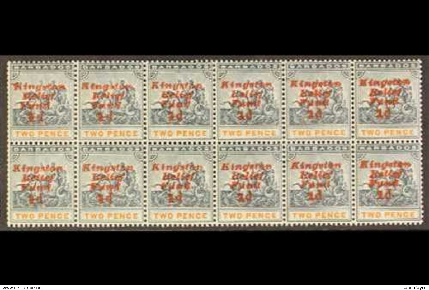 1907 MULTIPLE WITH VARIETIES KINGSTON RELIEF FUND, PART PANE Of 12 Stamps - Fifth Setting, Ovpt Upright, With Missing St - Barbades (...-1966)