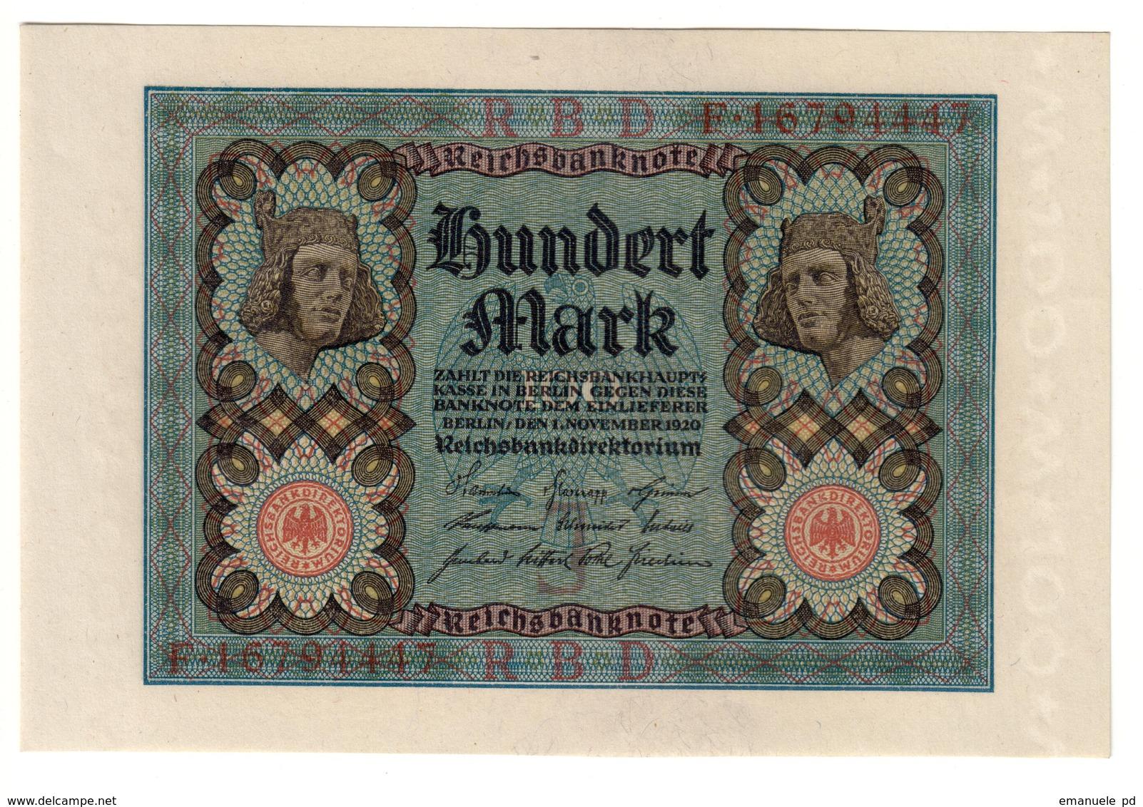 GERMANY100MARK01/11/1920P69UNC.CV. - 100 Mark