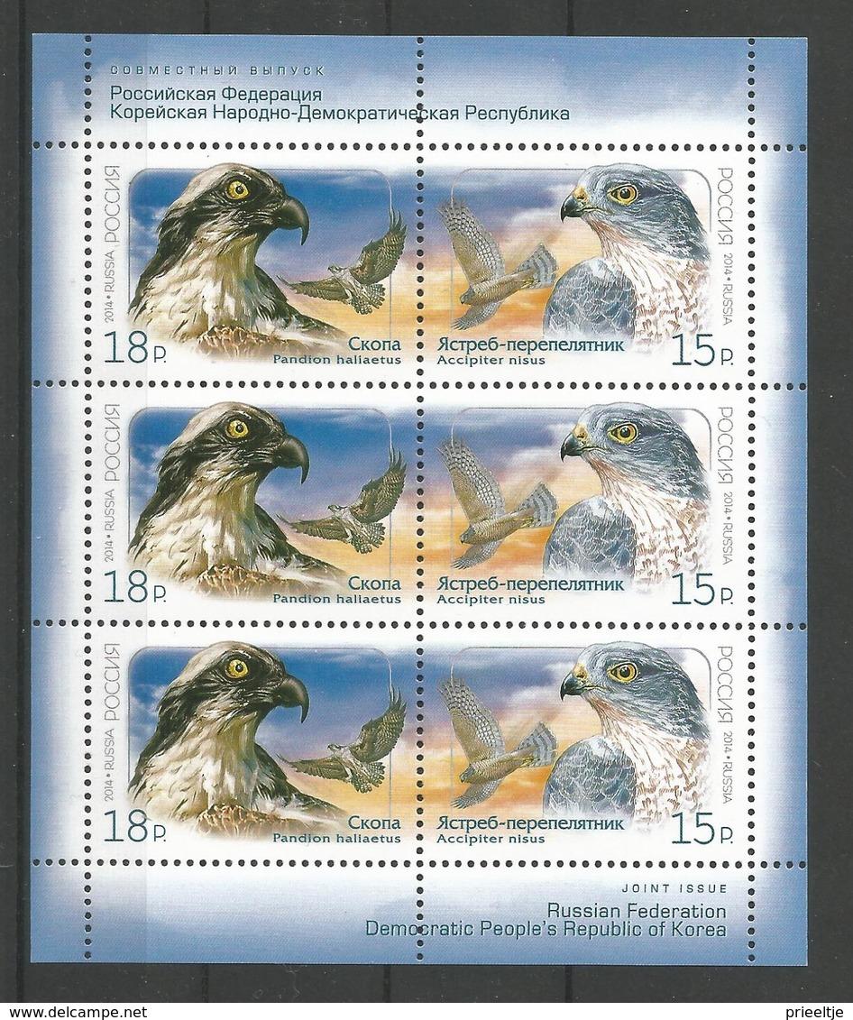 Russia  2014 Birds Of Prey Sheet  Y.T. 7534/7535 ** - Ongebruikt