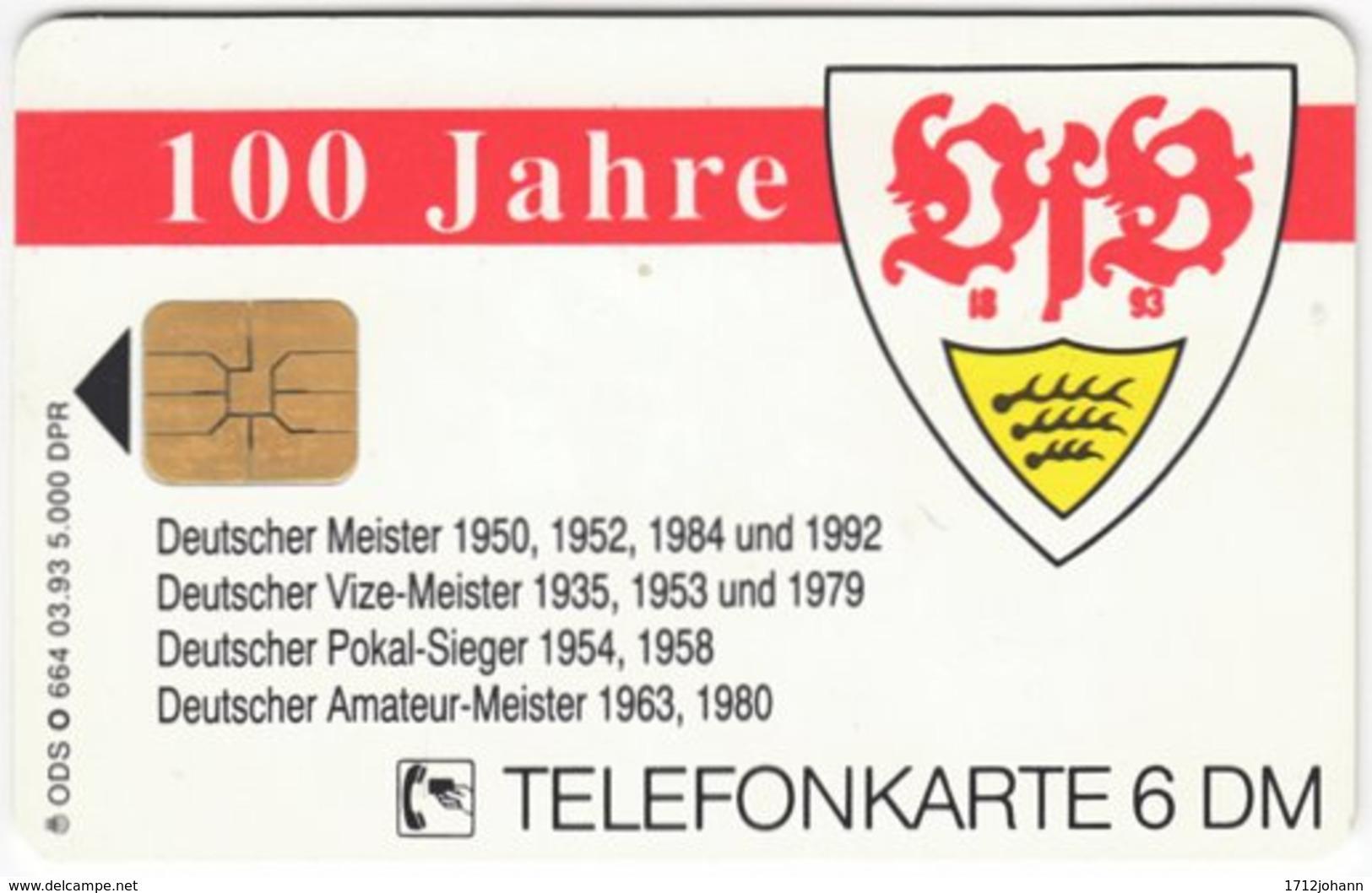 GERMANY O-Serie B-712 - 664 03.93 - Sport, Soccer, VfB Stuttgart - Used - Deutschland