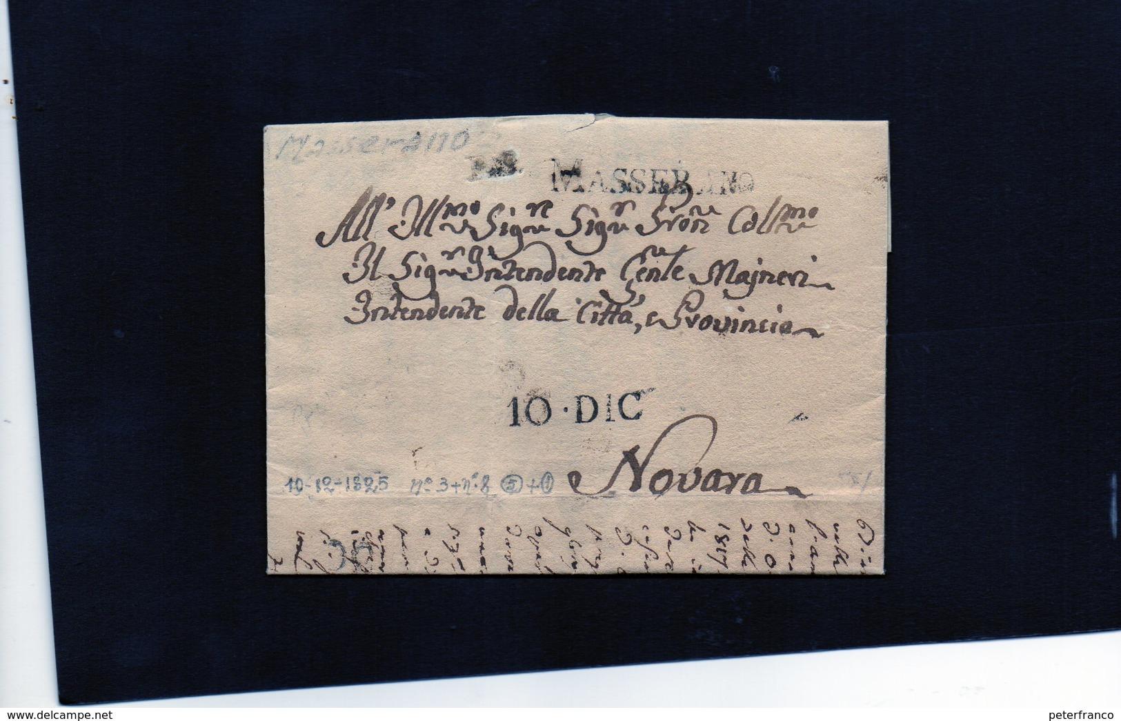 CG20  Lett. Da Masserano X Novara 10/12/1828 - Bollo Stampatello Nero Con Data + P.P. - Italia