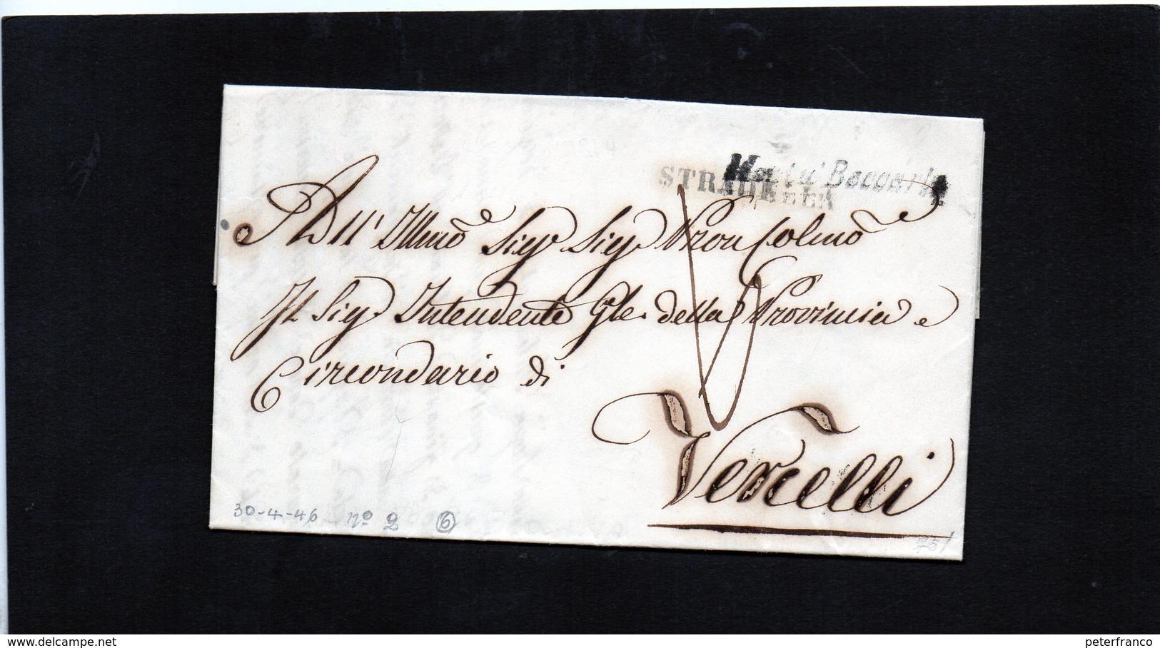 CG20  Lett. Da Montù Beccaria X Vercelli 30/4/1846 - Bollo Stamp. Nero Senza Data + Bollo Di Transito Stradella - 1. ...-1850 Prefilatelia