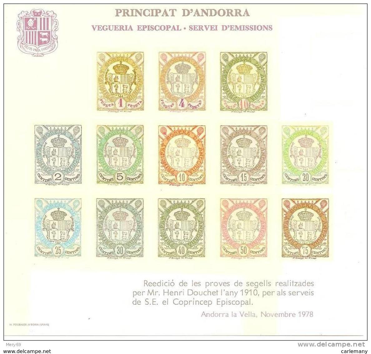 Doc. Andorra  (Andorre)  Essai Timbres H.Douchet 1910-1978 - Timbres