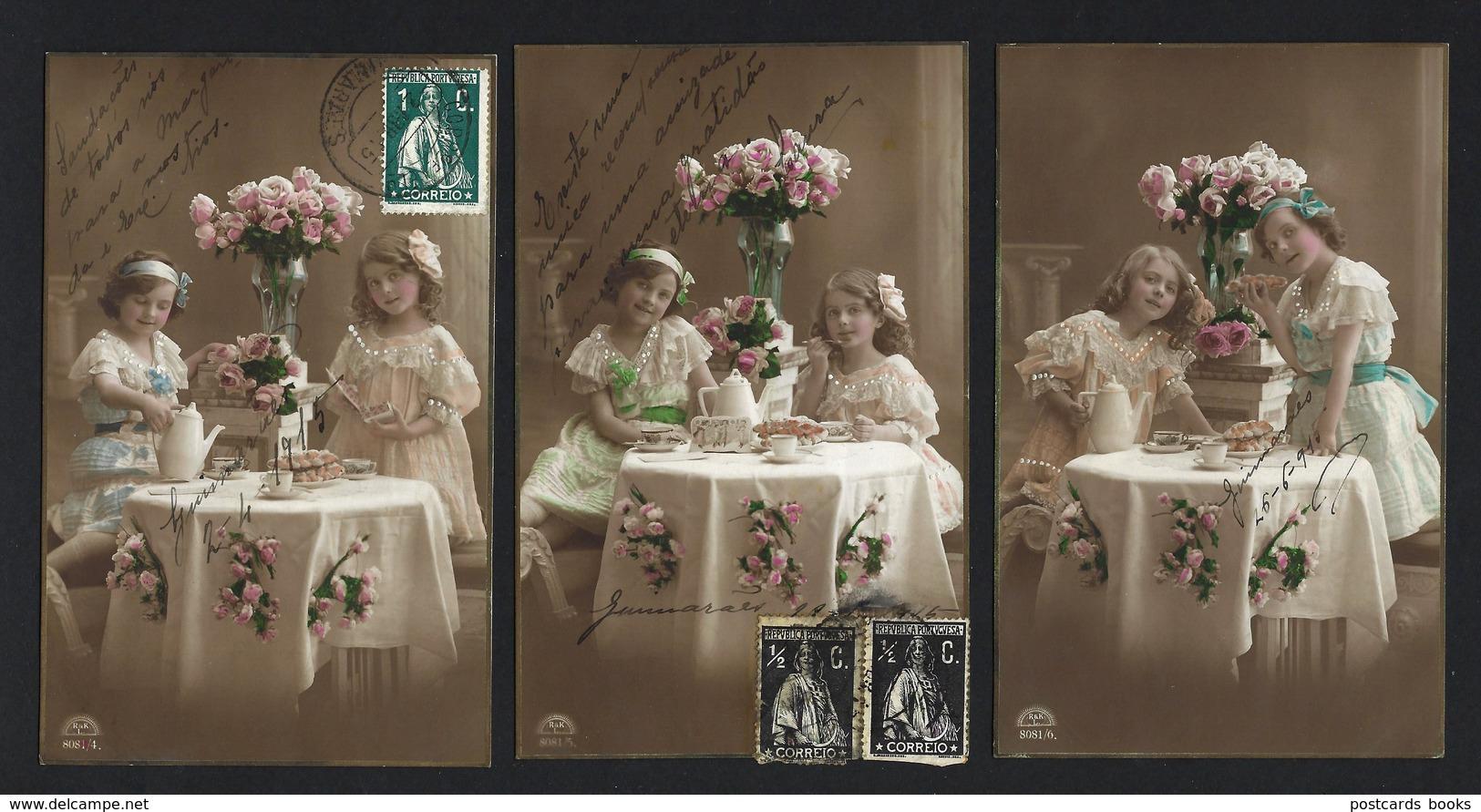 Set Of 3 Old Real Photo Postcards: Edwardian Children TEA TIME. Lot R&KL 1910s GERMANY - Abbildungen