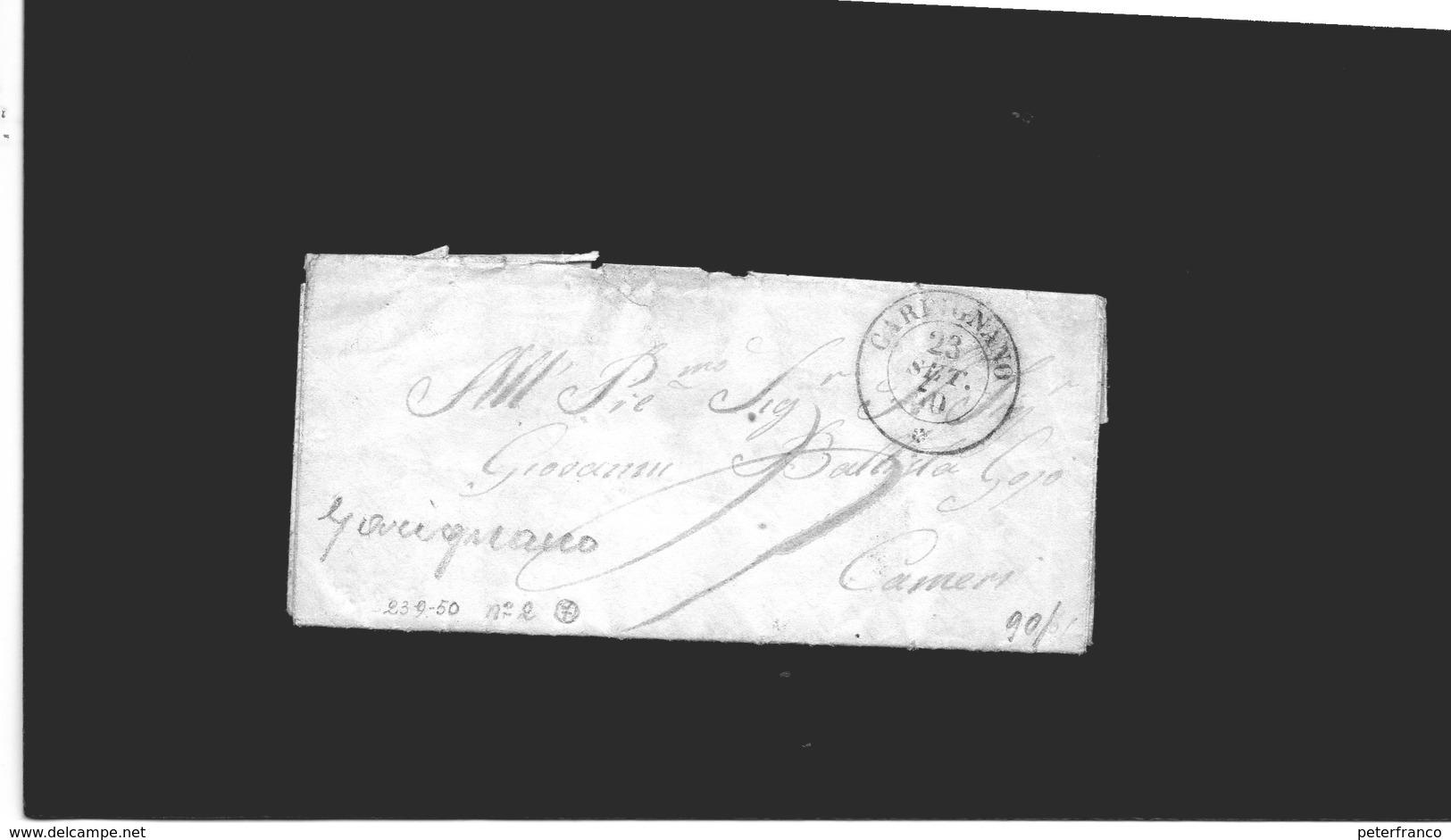 CG20 - Lett. Da Carignano X Cameri 23/9/1850- Doppio Cerchio Sardo Ital - 1. ...-1850 Prefilatelia
