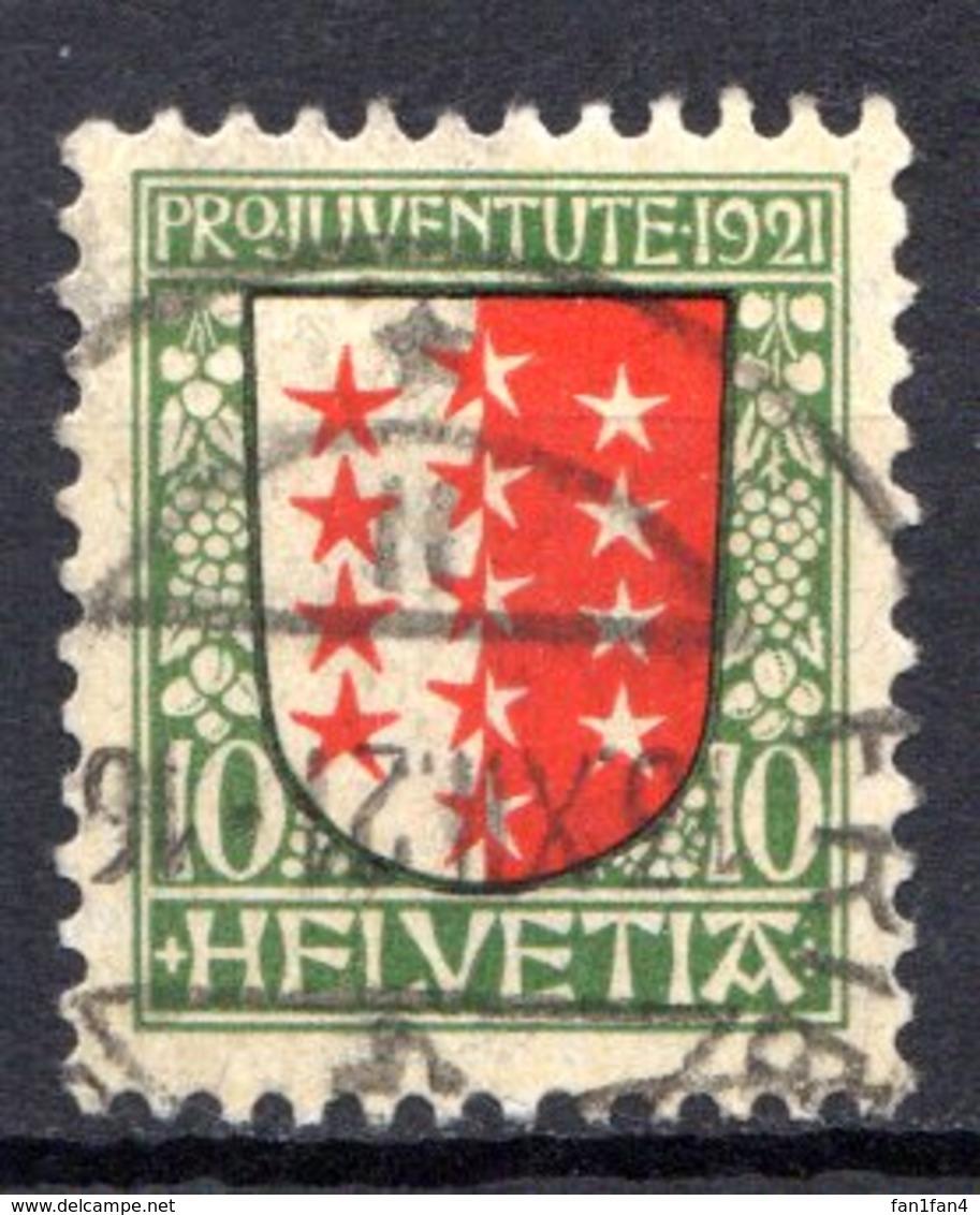 SUISSE - (Postes Fédérales) - 1921 - N° 185 - (Pour La Jeunesse. Armoiries Des Cantons) - Usati