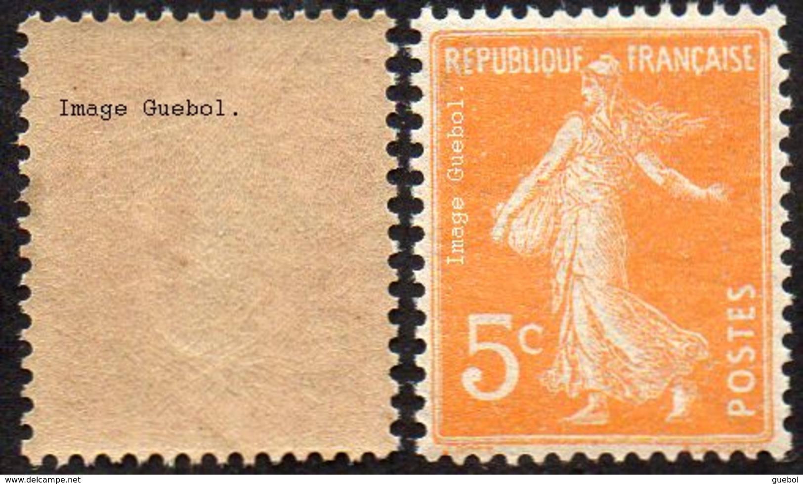 France Semeuse De Roty N°  158 ** Plein Fond Sans Sol Le 5c Orange Type_1 - 1906-38 Säerin, Untergrund Glatt