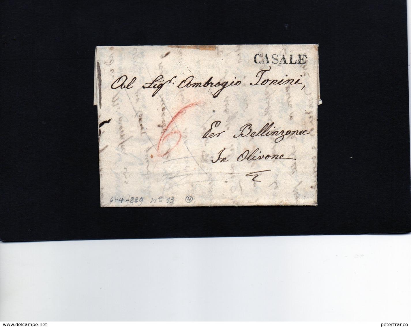 CG20 - Lett. Da Casale X Olivone 1829 - Bollo Stampatello Diritto Nero Senza Data - 1. ...-1850 Prefilatelia