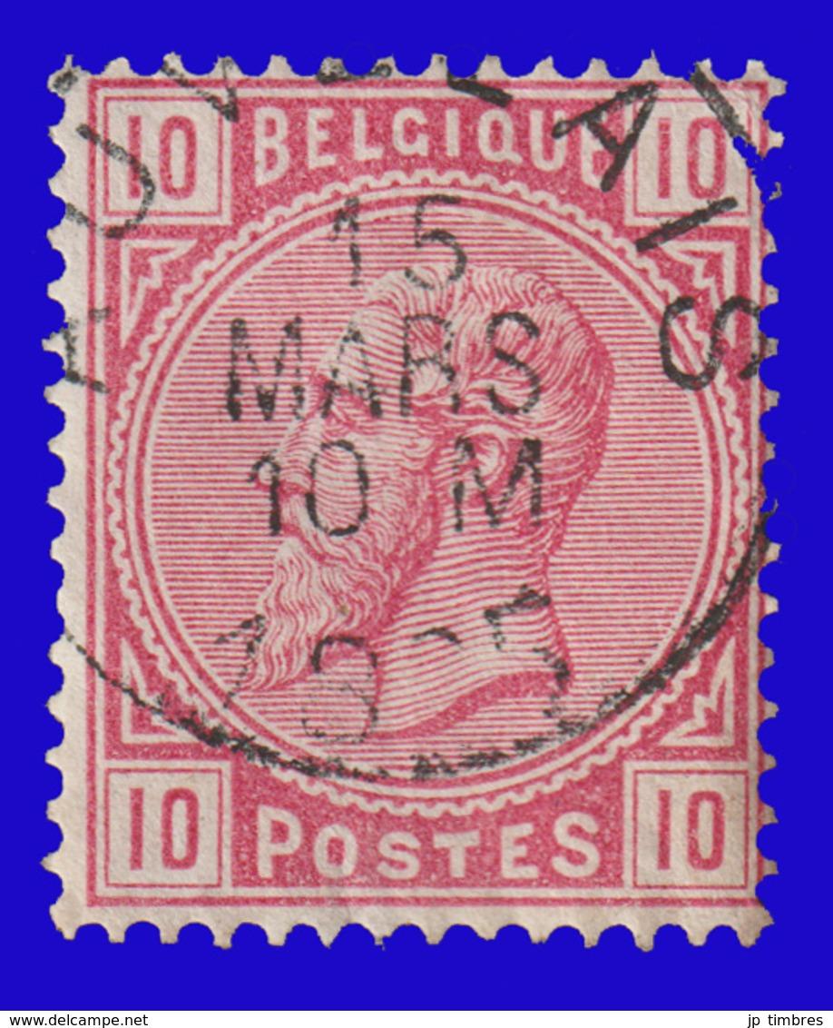 """COB N° 38 - Belle Oblitération """"AUVELAIS"""" - 1883 Leopold II"""