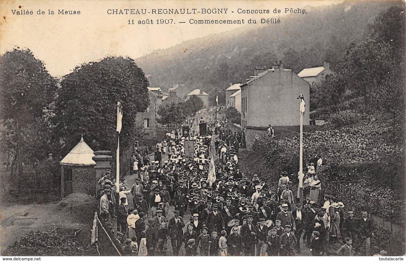 CPA 08 CHATEAU REGNAULT BOGNY CONCOURS DE PECHE 11 AOUT 1907 - France