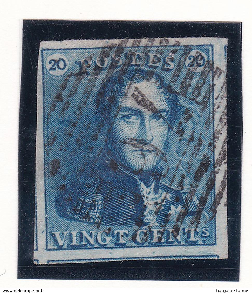 Belgique - COB 2 Bleu Pastel - 1849 Epaulettes