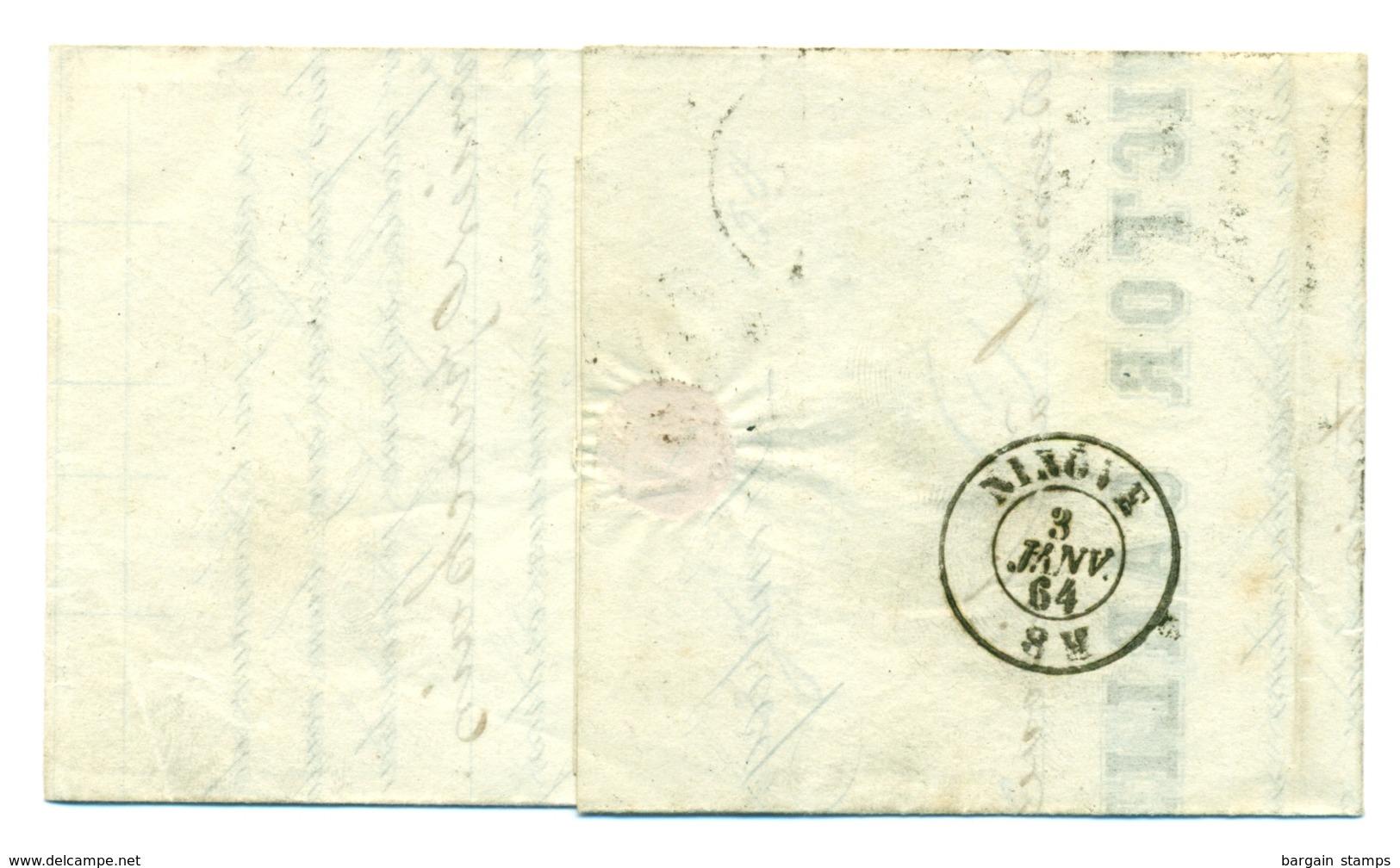 Belgique - COB 14 Ambulant Midi V Sur Pli De Lembecq à Ninove - 2 Jan 1864 - 1863-1864 Médaillons (13/16)