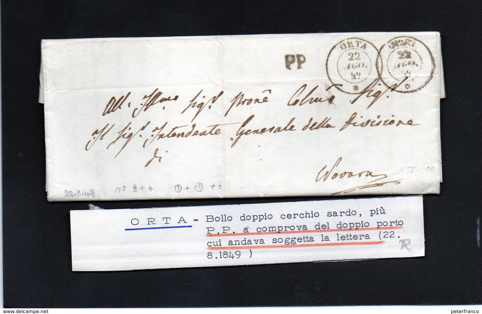 CG20 - Lett. Da Orta X Novara 22/8/1849 - Italia