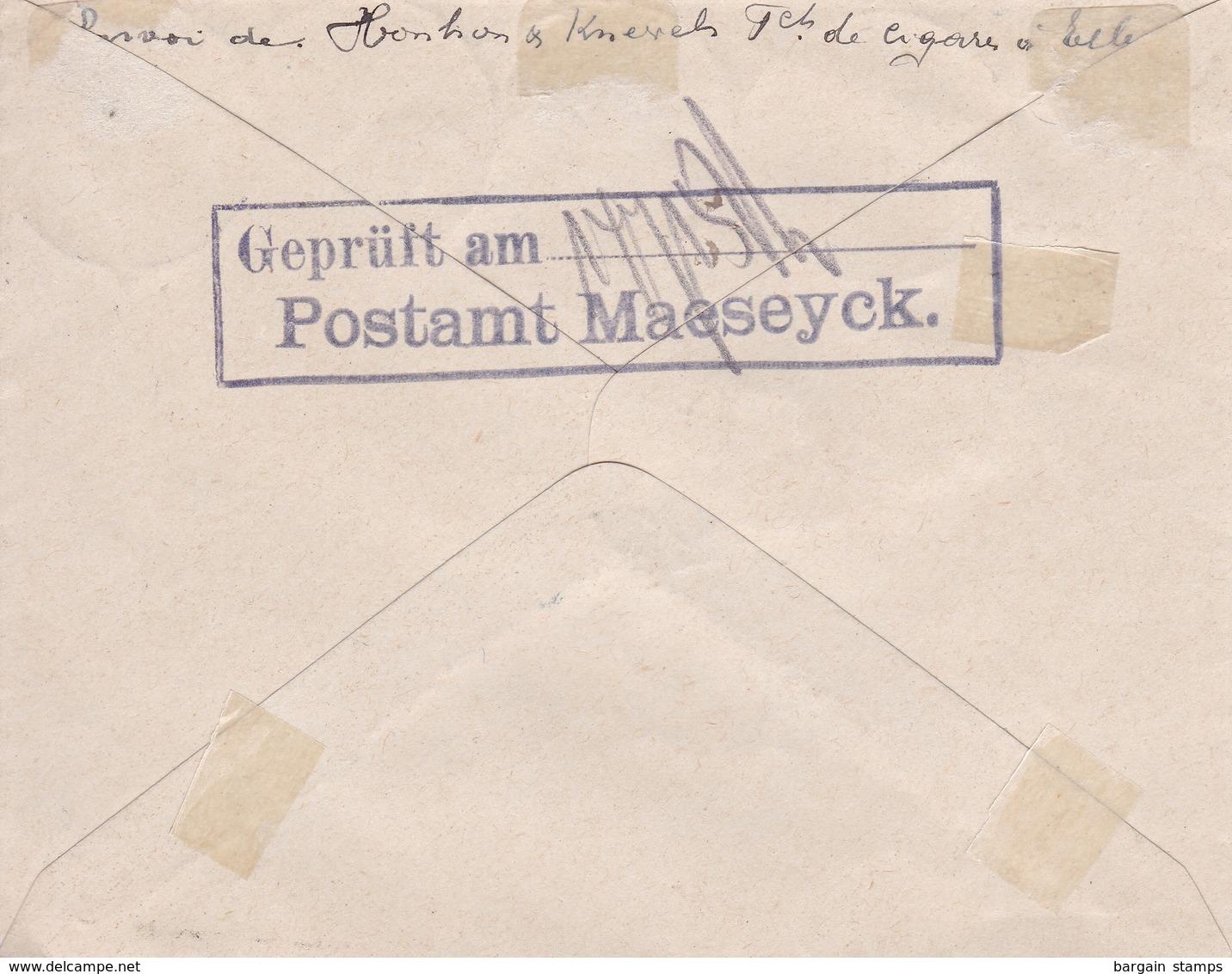 Belgique - COB OC 1 2 3 Et 4 Sur Lettre Recommandée De Maeseyck (Maaseik) à Anvers - Juillet 1915 - Oorlog 14-18