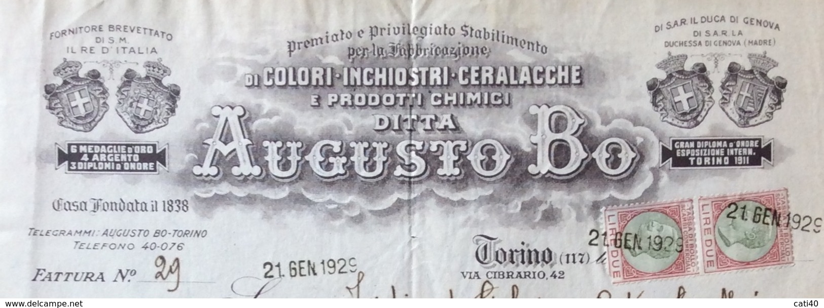 COLORI INCHIOSTRI CERALACCHE  AUGUSTO BO' - TORINO - FATTURA CON MARCHE DA BOLLO DEL 21/1/29 - Italia