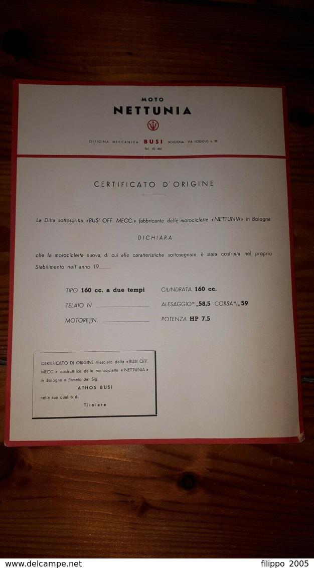 1950 MOTOCICLISMO MOTO NETTUNIA BOLOGNA OFFICINE BUSI 16 CERTIFICATI DI ORIGINE - Motorfietsen
