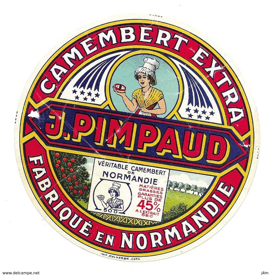 ETIQUETTE De FROMAGE. CAMEMBERT Fabriqué En NORMANDIE..J. PIMPAUD (Manche 50-D) - Cheese