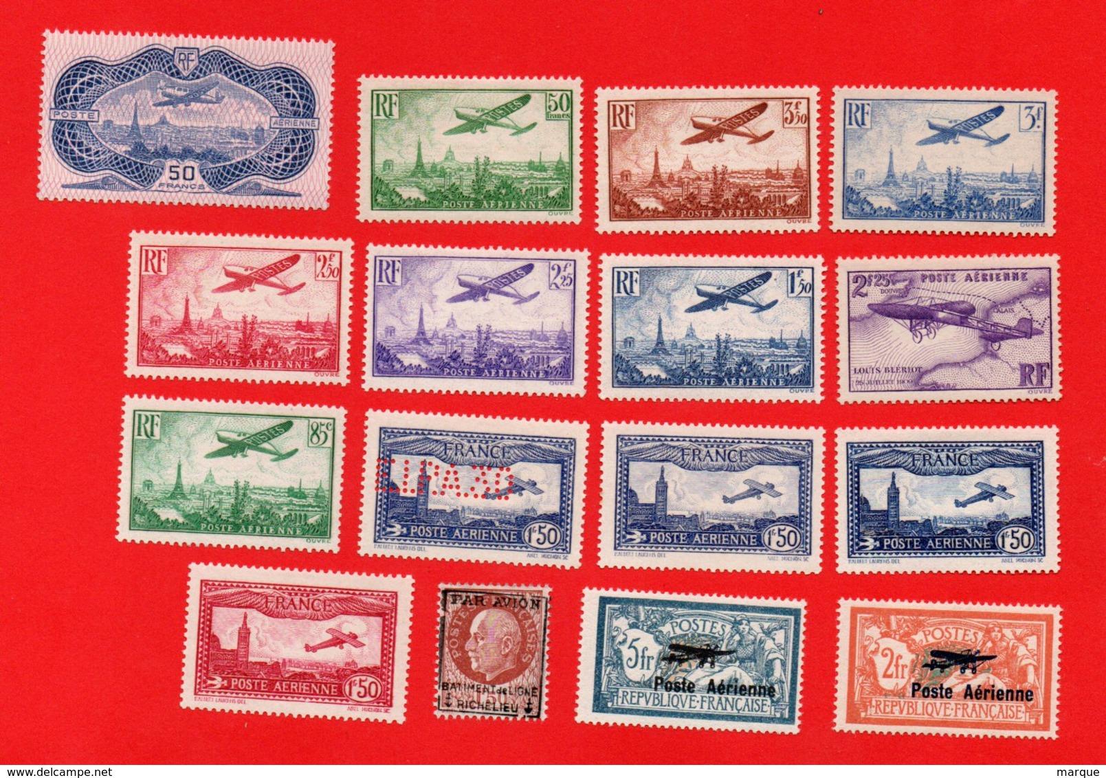 Lot De 16 Timbres Poste Aérienne FRANCE Neufs - Collections