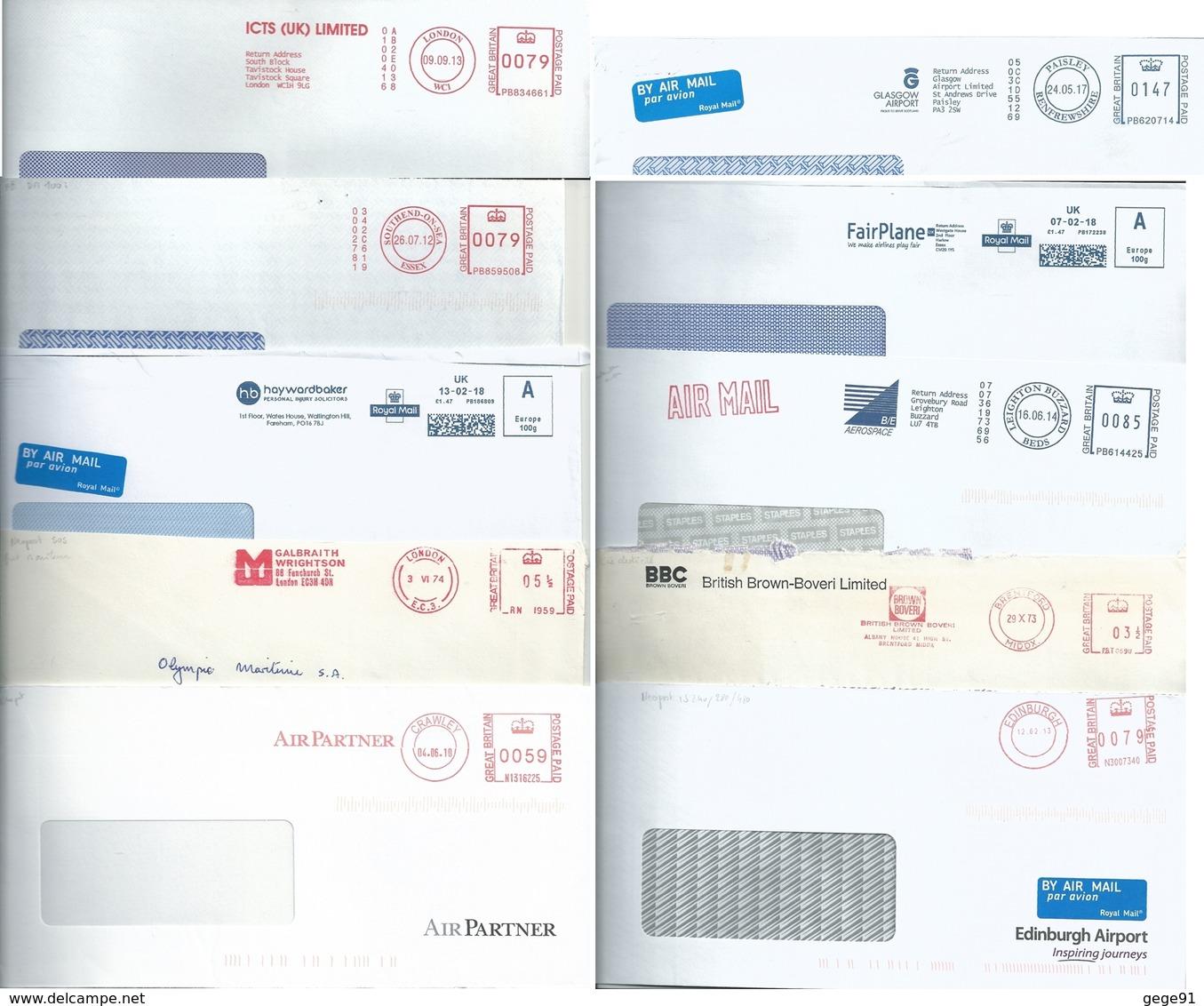 Ema Pitney Bowes Et Neopost _ Lot De 10 Enveloppes Entières - Affrancature Meccaniche Rosse (EMA)