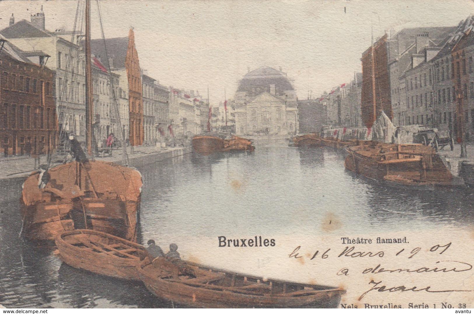 BRUXELLES / BRUSSEL / QUAI AU FOIN / FAUTE DE DESCRIPTION THEATRE FLAMAND DRUKFOUT   1901 - Maritiem