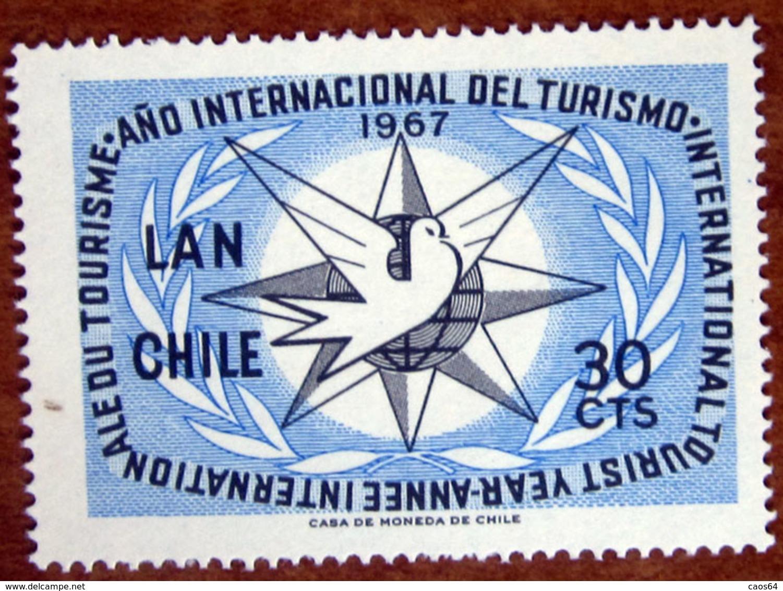 1967 CILE Posta Aerea Turismo International Tourist Year, Emblem - 30cts  Nuovo - Chile
