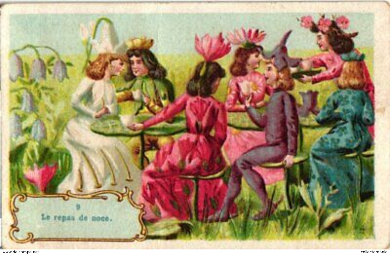 12 Trade Cards Complete Set Dressed Flower Mariage - Engage Fiancé Grasshopper Butterfly  Anthropomorph C1900 Litho - Other