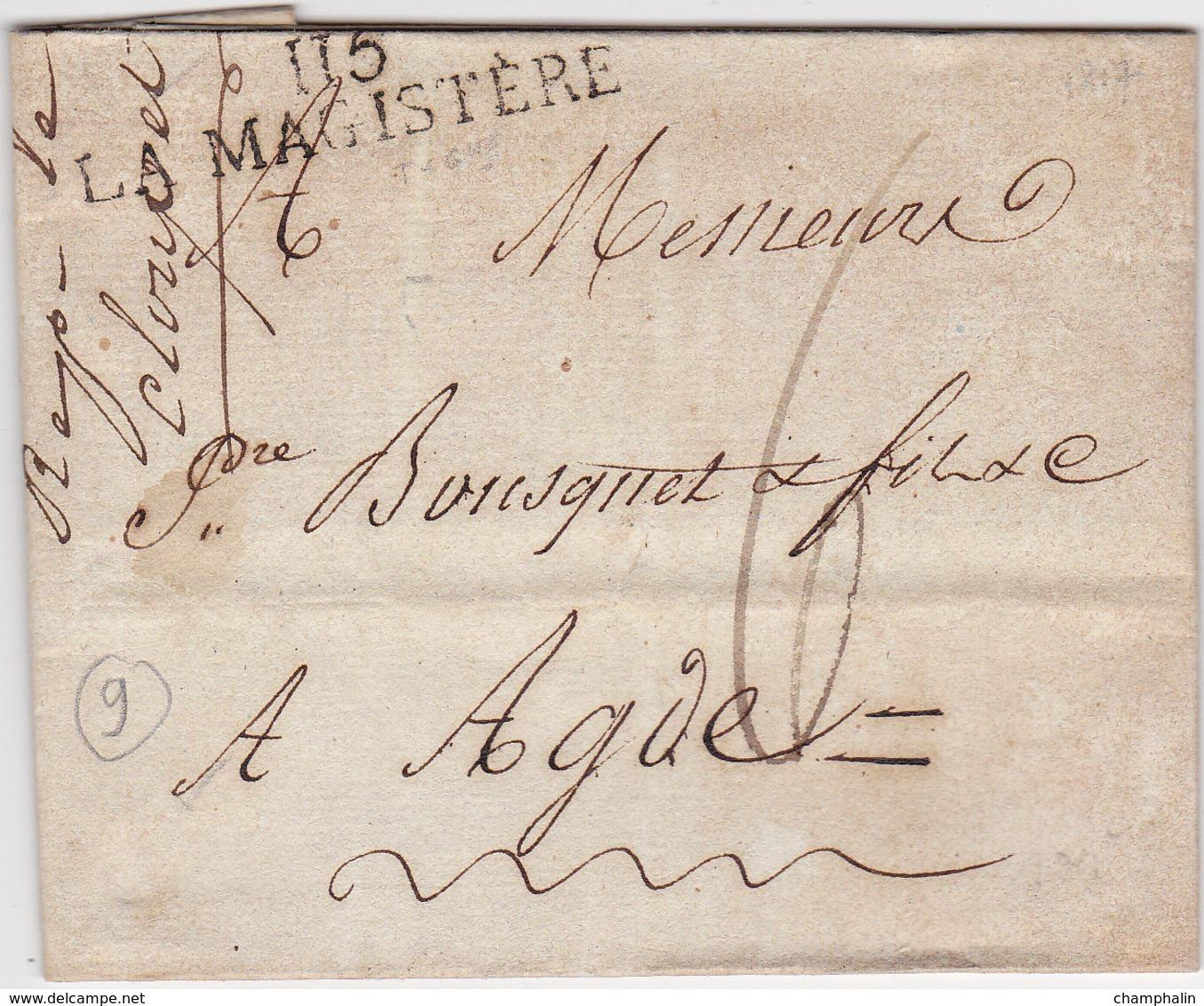 LAC De La Magistère (82) Pour Agde (34) - 13 Mai 1817 - Taxe Manuelle 6 - Marque Linéaire - 1801-1848: Précurseurs XIX